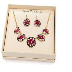 Kim Rogers Silver Tone Oval Stone Necklace Set
